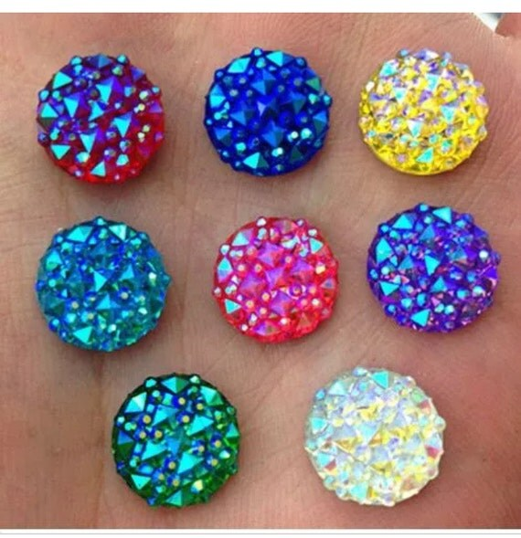 Mixed AB Flat Back Round Resin Rhinestones Embellishment Gems