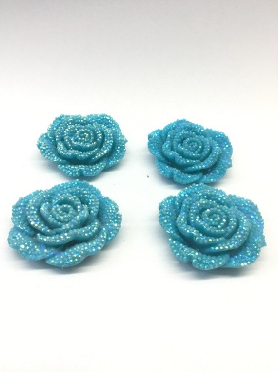 2pcs Sky Blue AB 42mm Large Flat Back Chunky Resin Rhinestone Rose Flower Embellishments C2