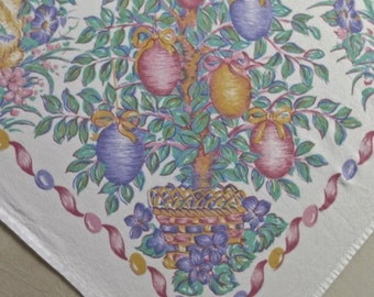 Vintage Easter Print Tablecloth 60 x 96 inches