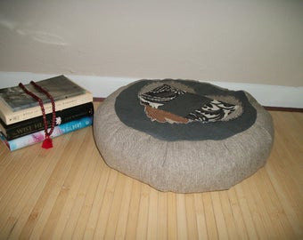 "Patchwork Heart Zafu Meditation Cushion. Dorm Pillow. Hemp, SlubLinen, Cotton fabrics. Buckwheat Hulls. 6""Sidewall Zipper. 15x5. USA made"