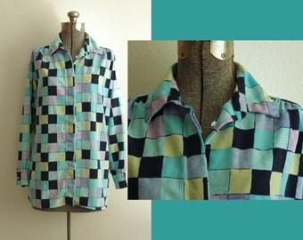 Anastasia Blue-Tone Square Print Button Down Shirt | Made in USA
