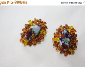 Christmas Sale Vintage Earrings, Orange Art Glass Earrings, Cluster Chunky, Clip on Earrings, 1950s Jewelry
