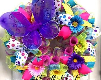 Spring Wreath - Spring Deco Mesh - Easter Deco Mesh Wreath - Deco Mesh Easter Wreath - Door Hanging - Wall Decor - Egg Wreath