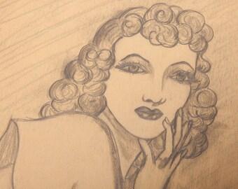 SWEET BUT SOPHISTICATED - Very Striking Erotic Pencil Drawing - original circa 1940's