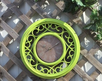 "14"" Lime Scrolled Wall Clock - Battery Operated Cottage Chic Wall Decor"