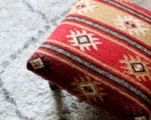 Kilim Footstool - Fair Trade Kilim Footstool with Wooden Legs - Boho Chic