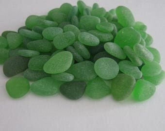 100 Bulk Sea Glass, Small Seaglass, Beach Glass Green