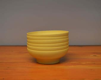 Vintage yellow Tupperware bowls set of six