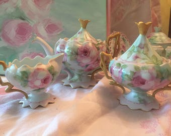 Hand painted porcelain tea set Victorian style tea set roses hand painted tea set shabby pink roses