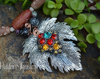 Autumn Maple Leaf Necklace orange yellow and red color obsidian gemstone beaded boho woodland jewelry