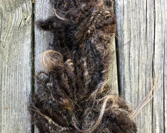Handspun Yarn, Art Yarn, Lockspun, Tailspun, Icelandic, Natural, Wool, Bulky, Single Ply, Curly, Touch of Gray