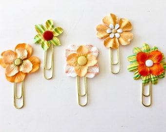 Planner Clips Orange & Yellow Flowers journal accessories planner accessories bookmark