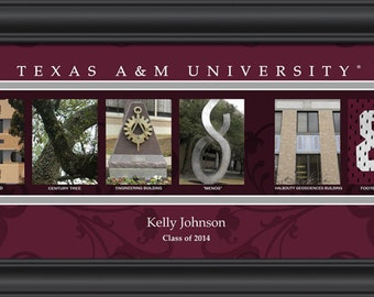 PERSONALIZED and FRAMED NCAA Texas A&M Aggies Letter Art Sports Prints