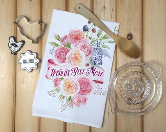 World's Best Mom Tea Towel, Flour Sack Towel, Gift for Mom, Kitchen Towel, Mother's Day Gift