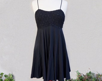 90s Little Back Dress, Spaghetti Strap Short Black Dress, Black Party Dress, Casual Black Dress, 90s Clothing, 90s Grunge