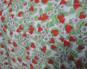 Vintage 1970s strawberry fabric cotton poly blend 2 yards 45 inches wide