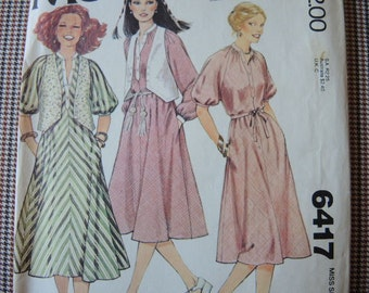 vintage 1970s sewing pattern McCalls 6417 misses petite dress and vest size 6-8