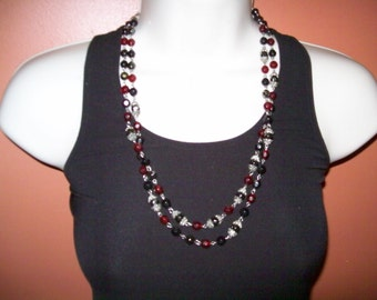 beaded necklace, multi strand bead necklace, red and black beads, retro, beads, hippie