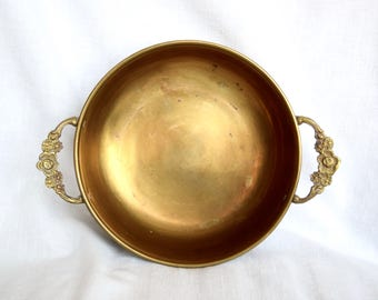 Vintage brass bowl with handles...floral handles...shabby chic.