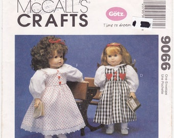 FF 18 inch Doll Clothes Pattern, Gotz Time to Dream Sewing Pattern [McCalls 9066] Dresses, Nightgown, Panties, Coat, Hat +, UNCUT