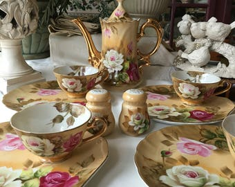 Lefton Heritage Tea Set for 5 Heritage Brown Floral 13 pieces