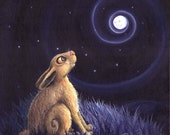 The Moon Gazer -  Mounted or framed Print of a moon gazing hare