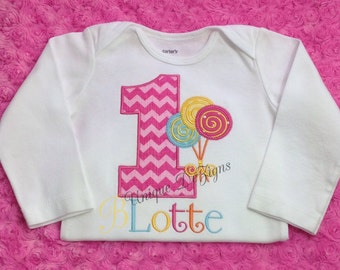 Lollipop Shirt, Girls Applique Lollipop & Birthday Number Bodysuit or T-Shirt, Girls Appliqué Shirt, Tops