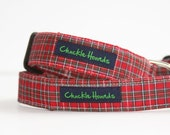 New Red Tartan Plaid Dog Collar - Collier de Chien - Best Selling Style