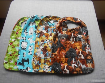 Dog MEDIUM REVERSIBLE BIBS with Pocket and Velcro Fastners