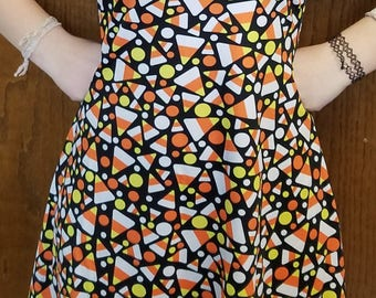 READY-TO-SHIP Candy Corn Halloween or Thanksgiving Dress (L)