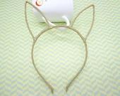 5pcs Headbands-- Gold Colors Long Ear Head Shape Headband 6mm Wide