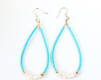 Kingman Turquoise Shell Earrings - Native American handcrafted
