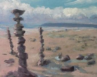 "Beach Scene  oil painting 12""X12"" sand, stacked stones, Cairn, serene original art by Maine artist Adrienne Kernan LaVallee nautical IMPASTO"