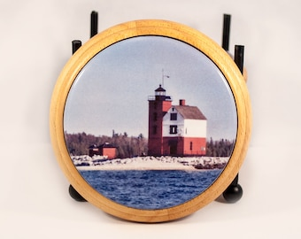Coaster, Round Island Michigan Lighthouse Design, Round Tile in Wood Base, Michigan, Nautical