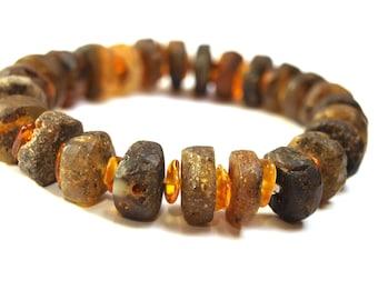 Unisex Baltic Amber Bracelet. Cognac color amber  beads.