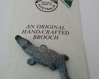 Crocodile Pin Brooch Cobble Cast Pete Smit Austrailia Handcrafted Her Birthday Anniversary Christmas