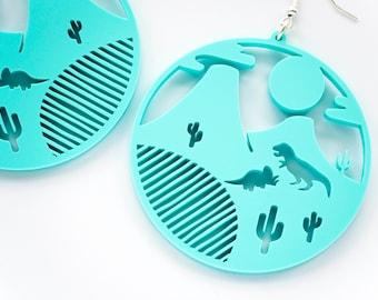 Dinosaur Dangle Earrings. T-rex Cactus and Triceratops Drop Earrings. Laser Cut Acrylic Dinosaur Blue Perspex. Statement Earrings.