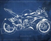 2016 Kawasaki Ninja ZX-6R Blueprint, Art Print 8x12in to 60x41in, Motorcycle Art print, Gift for bikers,Anniversary gift,Man cave decoration