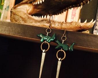 Malachite fox and spear earrings