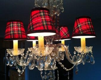 Red Stewart tartan chandelier lampshade plaid shade tartan shade
