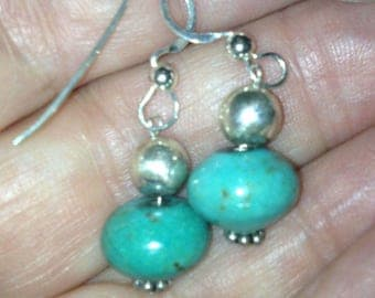 Simple and Clean Turquoise and Sterling Silver Drop Earrings