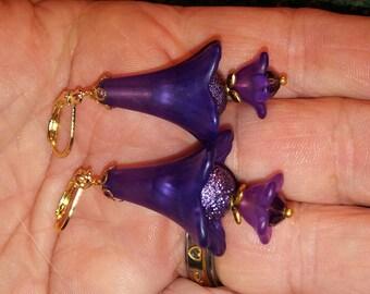 Lucite earrings. Purple earrings. Dangle earrings.