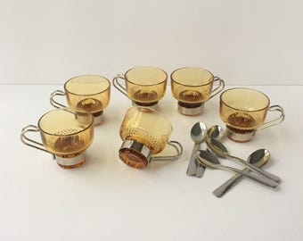 Amber Espresso Cups, Vintage Glass Mugs, 6 Espresso Cups with Removable Stainless Holders and Spoons, Glass Demitasse Set, Demitasse Coffee