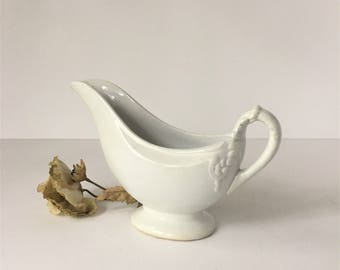 Antique Gravy Boat, Ironstone Sauce Boat, George Scott Stone China, Farmhouse Decor, White Ironstone, American Ironstone