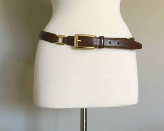 Vintage BROWN LEATHER BELT with Gold Links/size Medium-Large