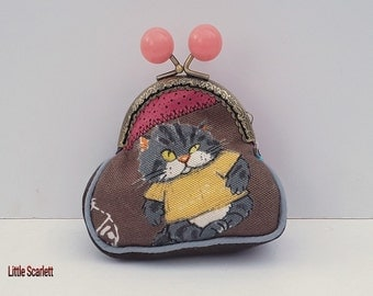 Retro purse Brown and pink leather and fabric cats