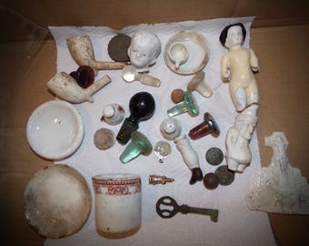 Vintage Relics . Dug up in New England  Relics. 1800s Relics .Vintage Shadow Box Stuff .1897  Nickel .Weird Relics .Miniature art Pieces