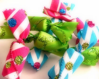 6 Fake Candy Pink Green Blue Candy Bowl Filler Wine Cork Ornament Decorations Table Scatter