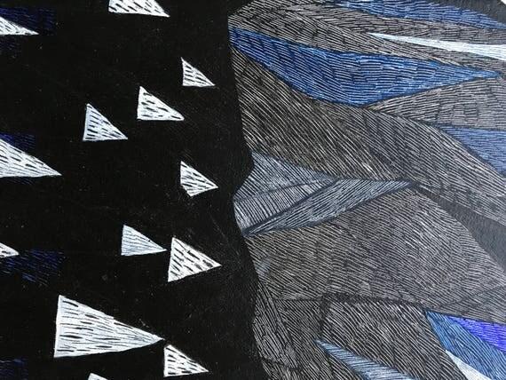 "Original polygonal painting, acrylic on canvas ""Floating Icebergs"", by Paulina Varregn"