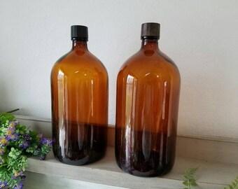 2  Vintage Brown Bottles Merck Pharmacy Medicine  Bottles Gallon